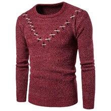 С утолщающейся подошвой осень Стиль Для мужчин крест для самых разных случаев сочетают в себе V узор с длинным рукавом свитер для повседневной носки одежда