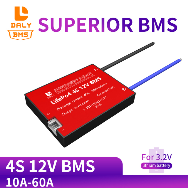 Daly 18650 BMS 4S 12V 15A 20A 30A 40A 50A 60A étanche BMS pour batterie Rechargeable Lifepo4 avec le même Port pour batterie au lithium