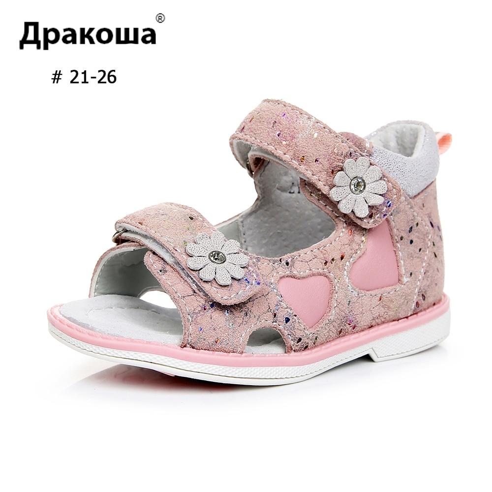 APAKOWA Girls Genuine Leather Sandals Toddler Shoes Daisy Flower Decorate Summer Sandals Open Toe Hoof Heels Kids Feetwear