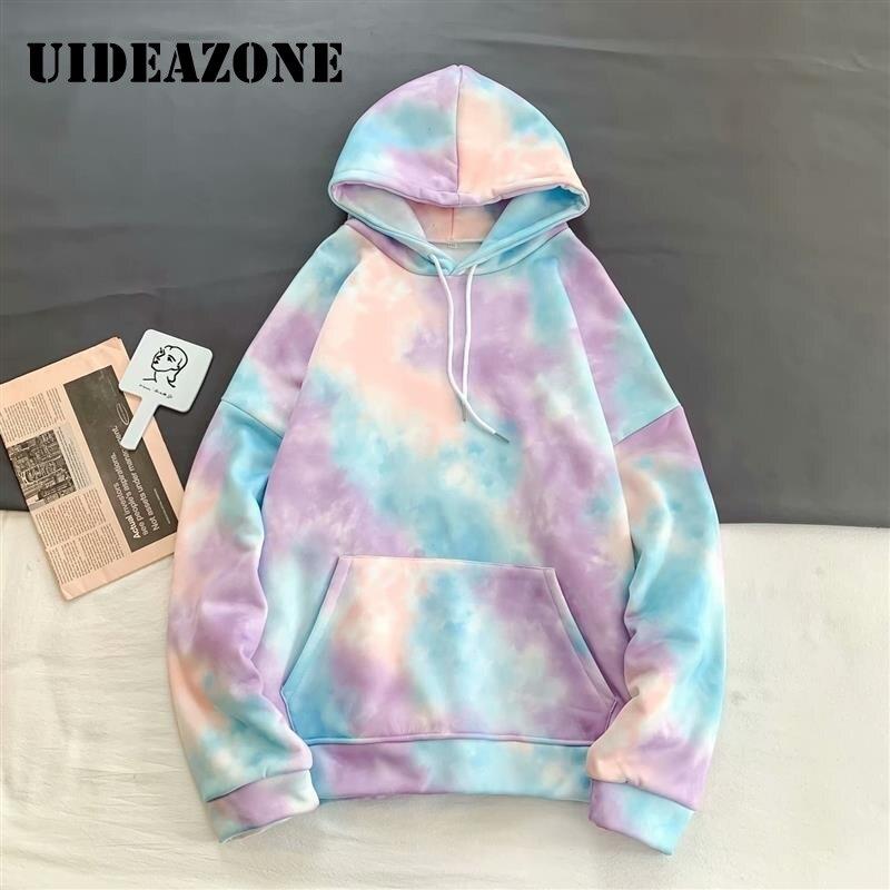 Men Tie Dye Hoodie  Front Pocket Tie Dye Sweatshirt Korea Style Hoodie Oversize Teen Hip Hop 2020 Spring Popping RaInbow Hoody
