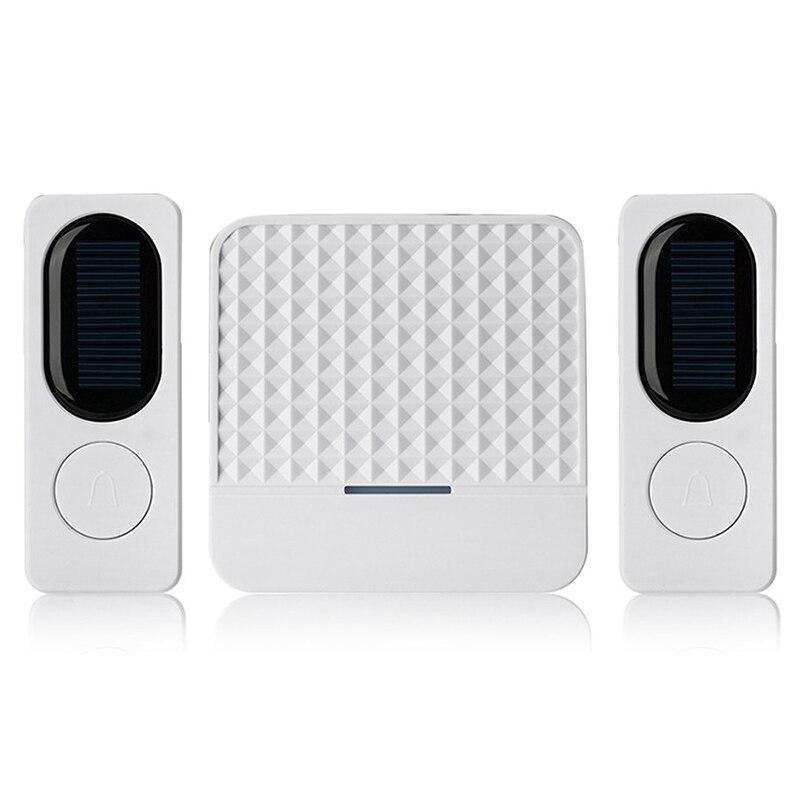 AMS-Waterproof Solar Powered Wireless Doorbell Alert System 300M Range 52 Chimes Electric Doorbell With Led Light EU Plug