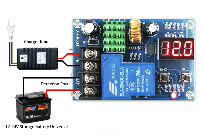 XH-M604 Battery Charger Control Module DC 6-60V Storage Lithium Battery Charging Control Switch Protection Board