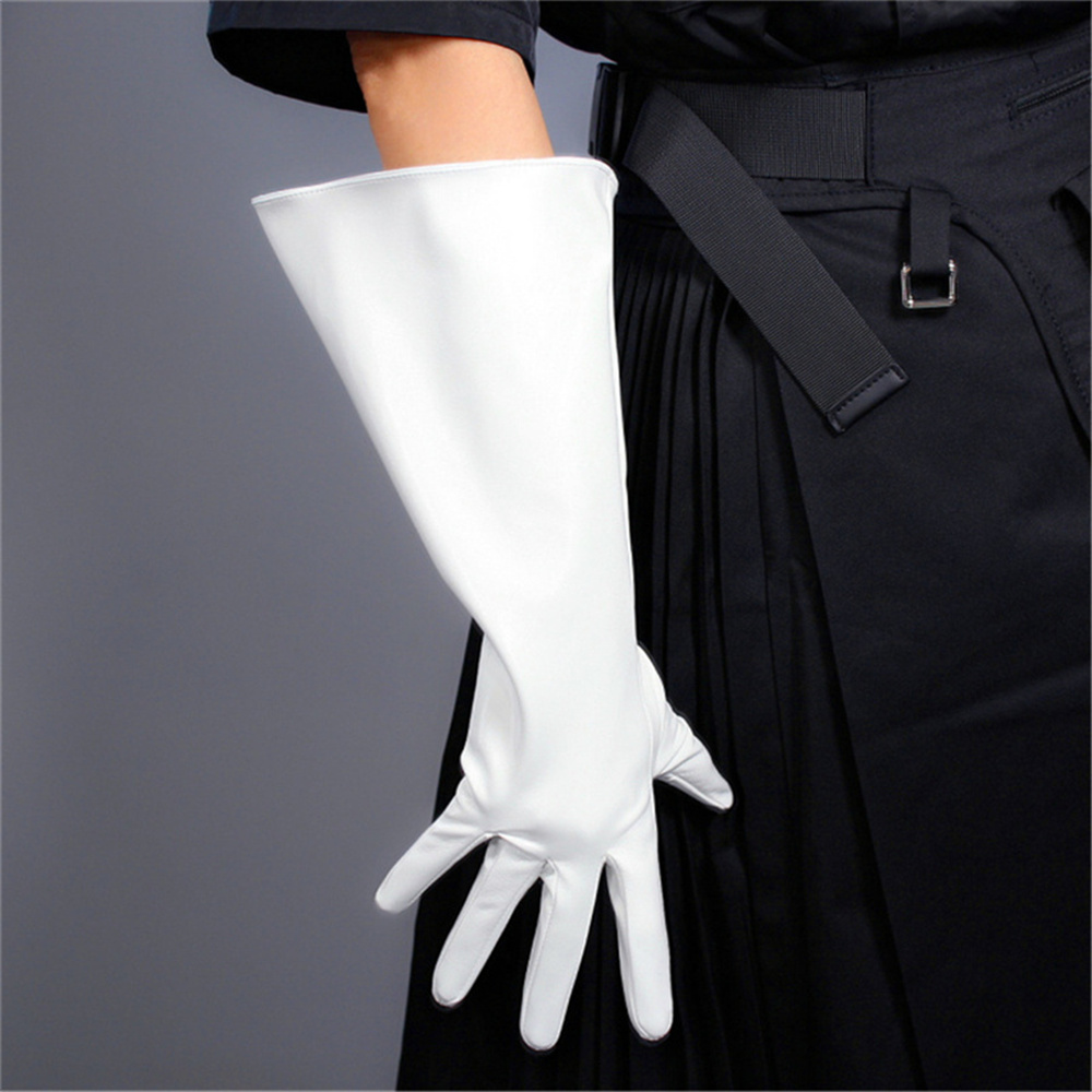 Unisex Patent Leather Long Gloves 38cm Large Sleeves Simulation Leather Imitation Leather White 3-DXQP03