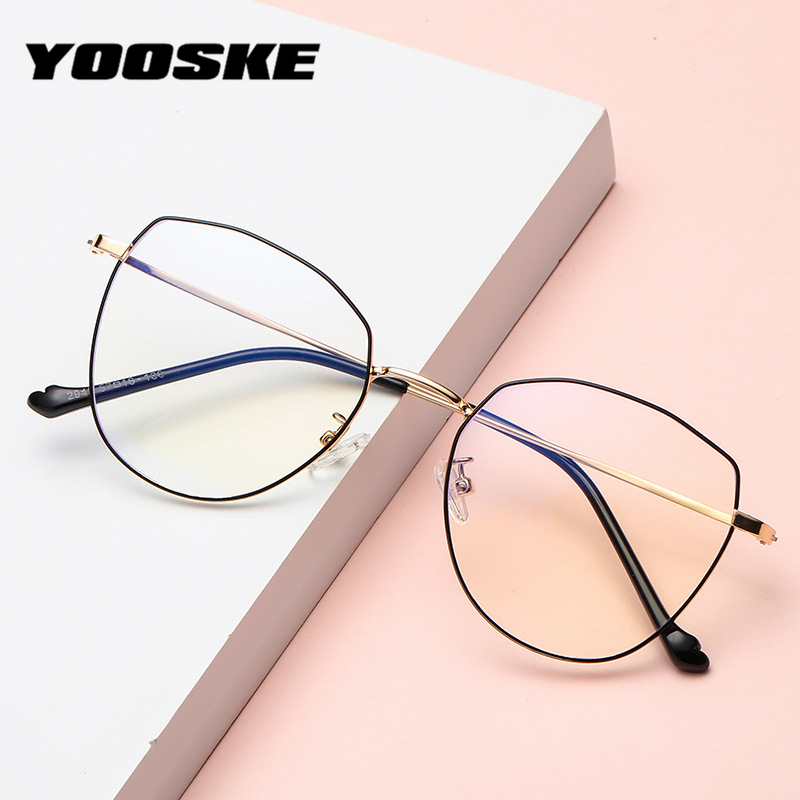 YOOSKE Anti Blue Light Cat Eye Glasses Frames Women Trending Brand Designer Clear Optical Spectacles Fashion Computer Eyeglasses