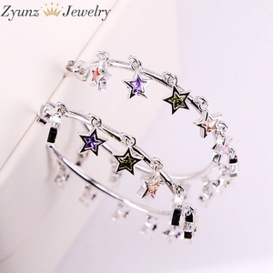 Image 4 - 3Pairs, Gold /silver Color cute cz star Earring with Shiny rainbow cz star For Women luxury charm party Jewelry