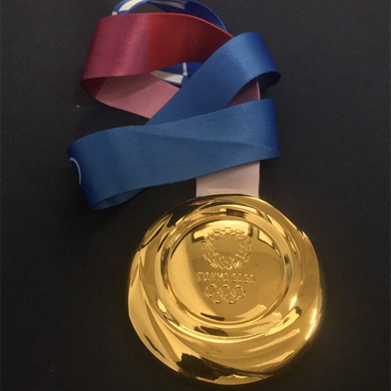 1 stücke Die Japan 2020 Gold silber bronze medaillen sport player awards abzeichen Tokyo spiele 85 mm emblem medaille mit bänder medaille
