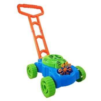 Lawn Mower Automatic Bubble Machine Pushing Car Maker Blower Kids Interactive Home Garden Outdoor Toy