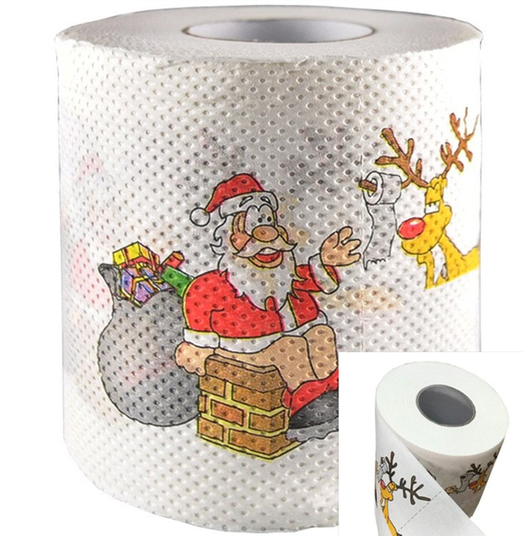 Christmas Printing Paper Toilet Tissues Novelty Roll Toilet Paper For Christmas Decoration Wholesale Party Disposable Tableware