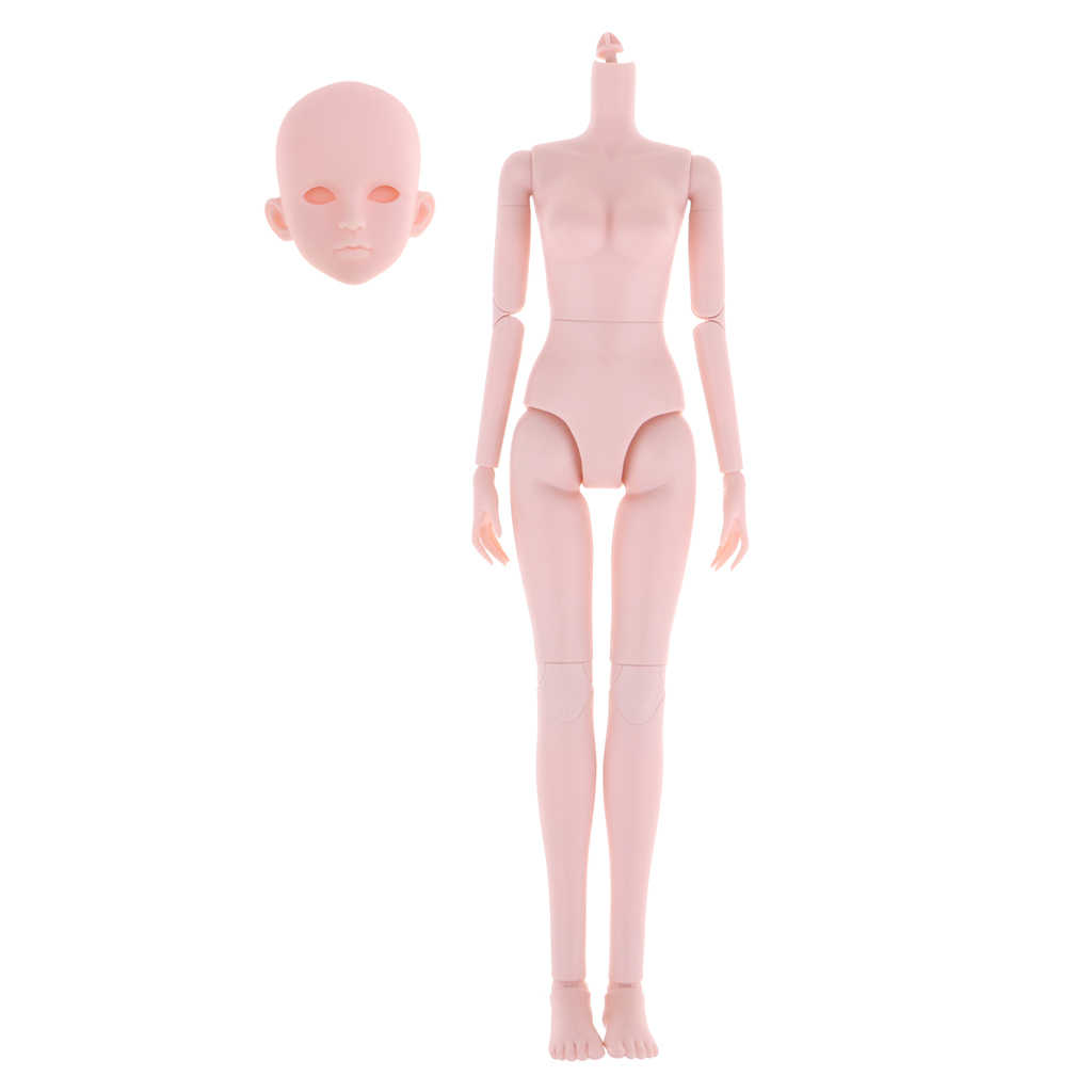 14 Joints Purple Hair Little Chest Nude Body for OB Kurhn 1//6 BJD Doll Accs