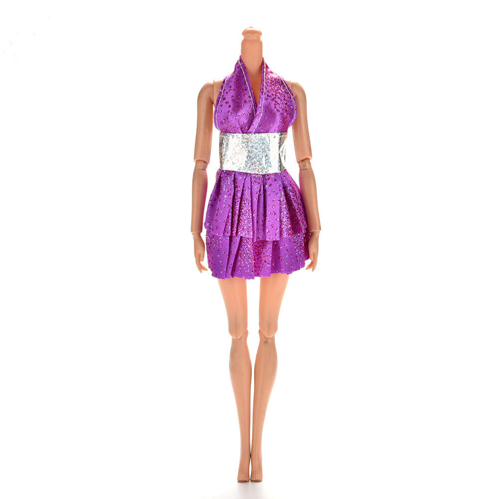 Sexy Girls Gifts Purple Princess Dresses for Dolls Summer Mini Doll Accessories Dance Dress 1 Pc