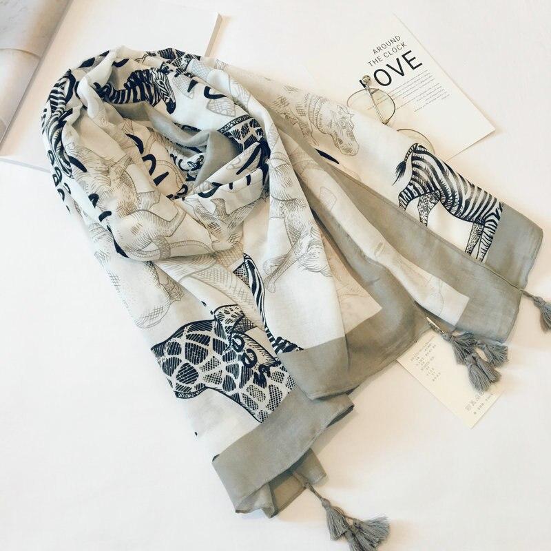 Cotton Linen Silk Animal Print Zebra Women Thin Head Scarf Shawl Wrap Pashmina 2019 Spring Summer Autumn Accessories шарф-XCC