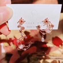 Mengjiqiao Koreaanse Elegante Asymmetrische Maan Ruimte Drop Oorbellen Voor Vrouwen Meisjes Mode Roze Crystal Boucle D' Oreille Sieraden