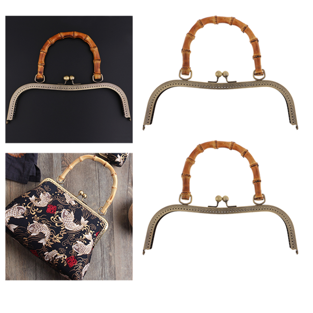 2 Pack Vintage DIY Kiss Clasp 27cm Bag Strap Bag Closure With Bamboo Handle For Women Handbag