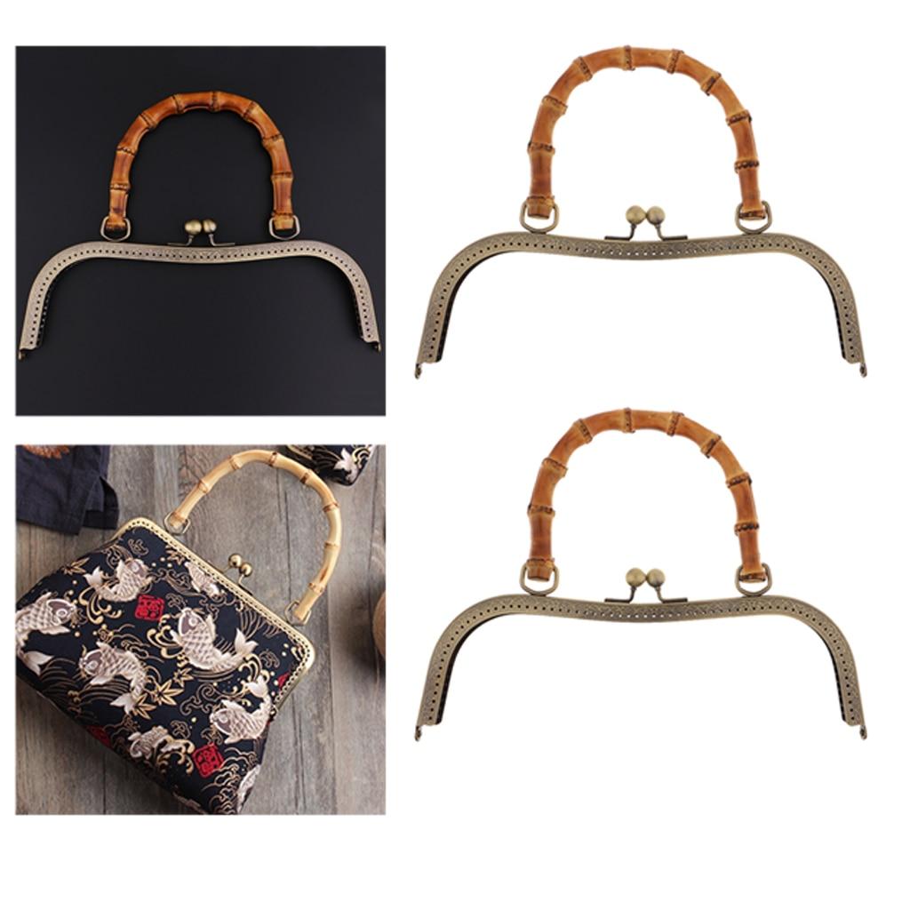 2 Pack Vintage DIY Kiss Clasp 27cm Bag Strap Bag Closure With Bamboo Handle For Women Handbag