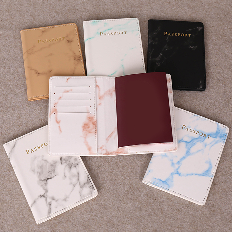 Passport Cover Colorful Marble Style Waterproof Passport Holder Travel Cover Case Card Holder High Quality Passport Packet