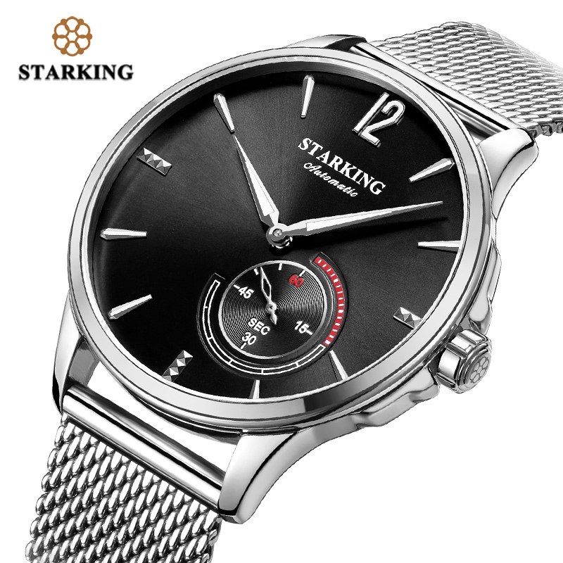 STARKING Stainless Steel Mechanical Watch Black Men Automatic Classic Mesh Band Male Wrist Watch 5Bar Water Resistant AM0273|Mechanical Watches| |  - title=