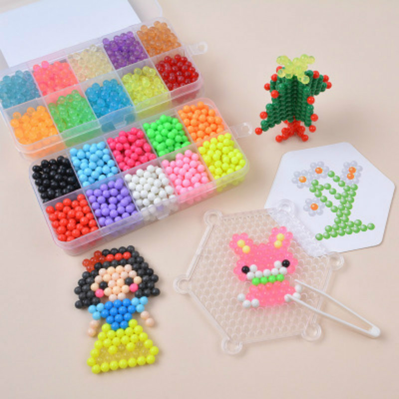 Magic Water Spray Hama Beads 3D Toys For Kids Girls Crystal Aqua DIY Puzzle Pegboard Handmade Hamma Bead Make Up Ball Games