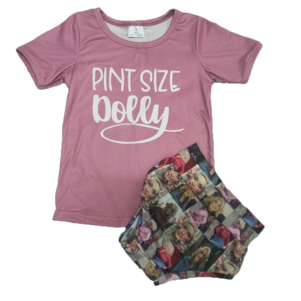 Hot Sale In Vogue Newborn Baby Summer Clothing Set Pint Size Short Sleeve Pink Shirt With Bummies Boutique Outfit