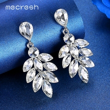 Mecresh Cute Lovely Marquise Crystal Bridal Earrings Wedding Engagement Jewelry Women Leaf Drop Dangle 3 Colors MEH1626