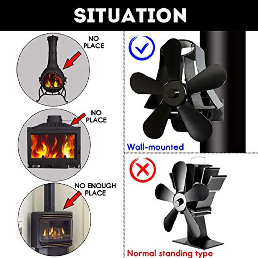 5 Blade Fireplace Fan Home Quiet Heat Powered Burner Portable Wall Mount Fireplace Fan Eco Friendly Aluminum Stove