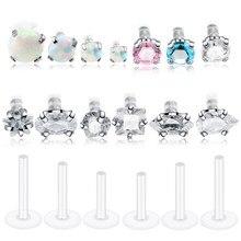 1pc piercings labret monore lábio anel piercings zircon travus cartilagem helix barra flexível bioplast piercings jóias 16g