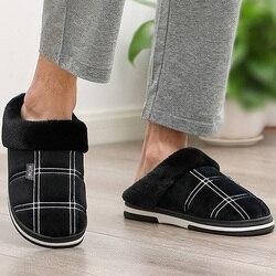 Dos homens Tamanho 50 Quente Antiderrapante Resistente Sole Casa Chinelos chinelos Em Casa sapatos para homens Gingham Veludo chinelos De Pele De Camurça