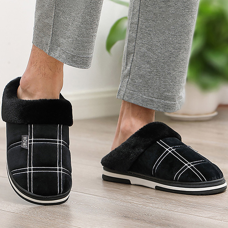 Men's Slippers Home slippers Size 50 Warm Antiskid Sturdy Sole House shoes for men Gingham Velvet Suede Fur slippers(China)