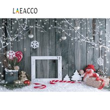 Laeacco Photography Backdrops Christmas Dark Wooden Wall Snowflake Snowman Gift Baby Portrait Backgrounds Photocall Photo Studio цена
