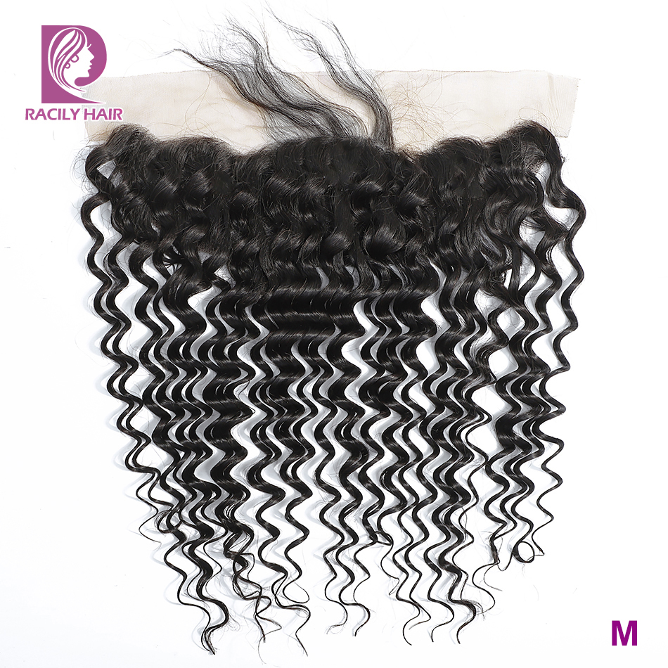 Racily Hair 13X4 Brazilian Deep Wave Lace Frontal Closure Color 1B Remy Human Hair Free/Middle/Three Part Frontal Free Shipping