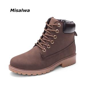Image 1 - Misalwa botas de trabajo de cuero para hombre, botines de nieve Unisex, con cordones, color negro, marrón, blanco, Camel, para invierno