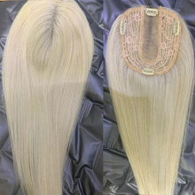 Hairpieces Blonde Topper Human-Hair Toupee Lace Women Ash Weft for 12--15cm Base-Size