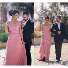 vestidos de gala Arabic Mermaid Prom Dresses Long 2019 Bush Pink Off The Shoulder Evening Dress Formal Women Imported Party Gown