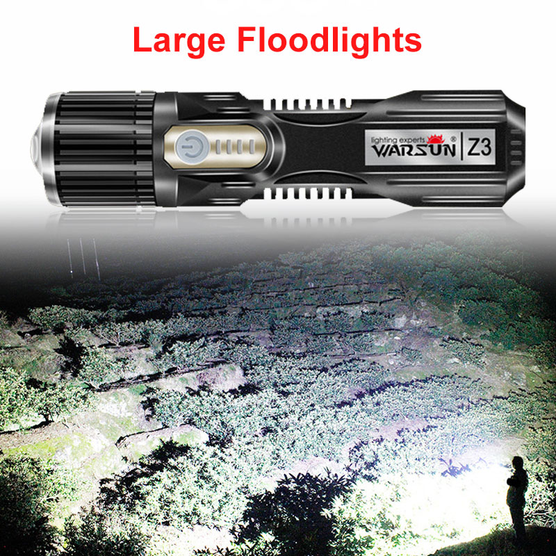 Two Colors Led Flashlight Powerful Light Adjustable Focus 5000 Lumens USB Flashlight Outdoor Bicycle Light Nonslip Waterproof