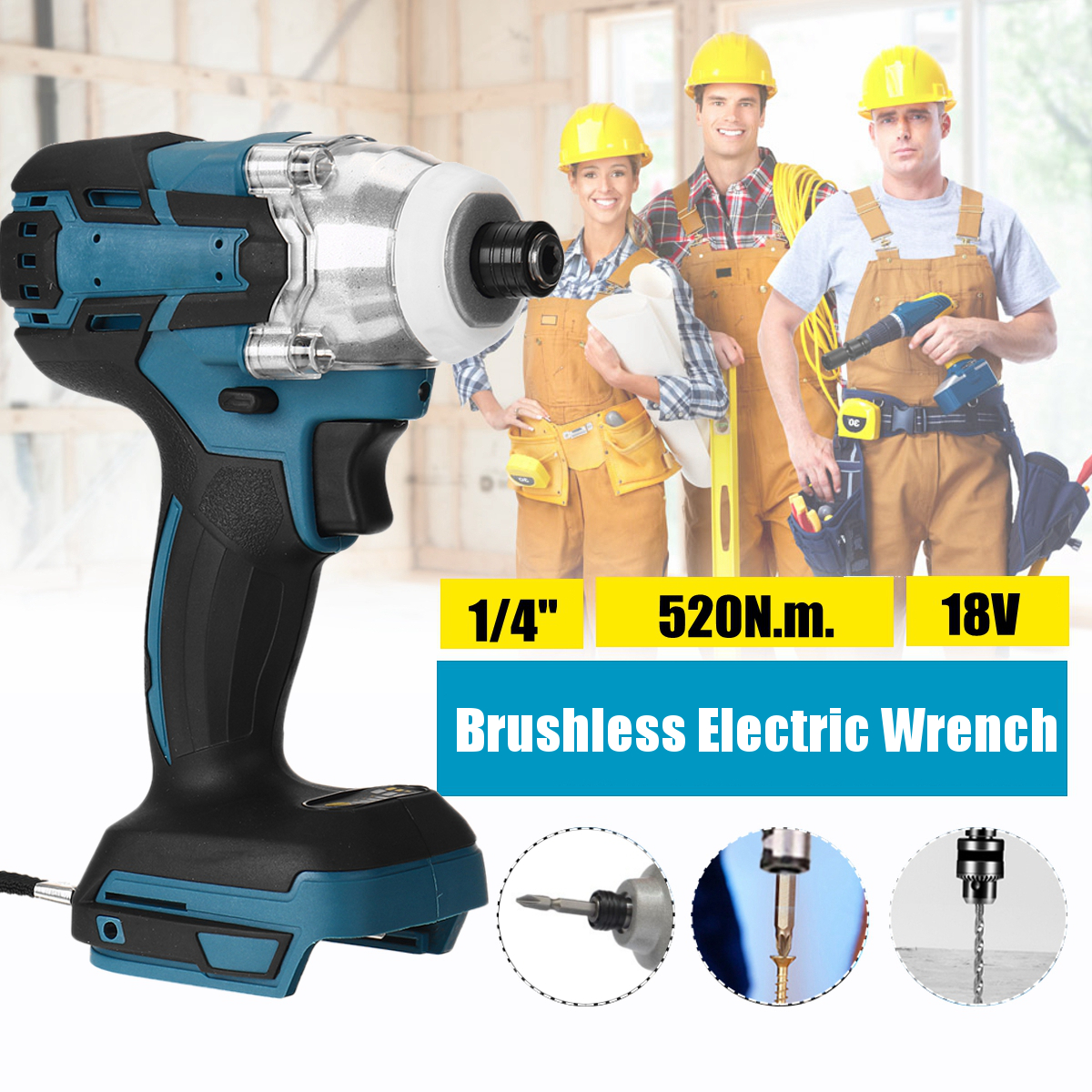 18V 520N m Cordless Electric Screwdriver Speed Brushless Impact Wrench Rechargable Drill Driver  LED Light For Makita Battery
