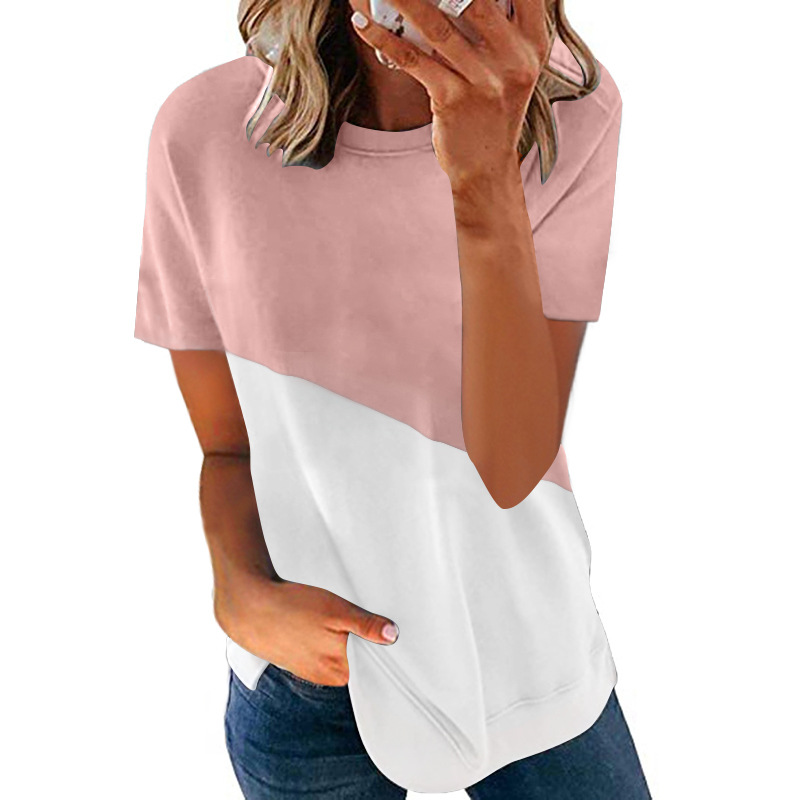 Summer Women Tops T-Shirt Soild Color Stitching Casual Short Sleeves T-Shirt Ladies Slim Tee Soft Loose Female T-Shirt