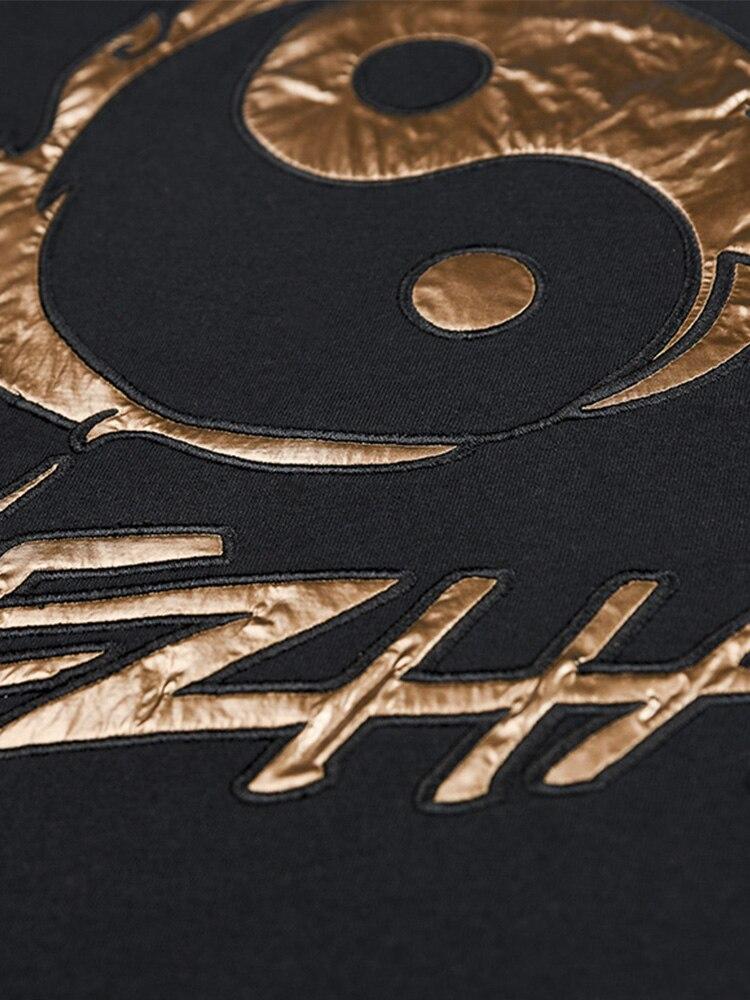 Золотая вышивка уличная одежда свободный крой скейтборд Мальчик скейт Футболка 100% хлопок мужские рок хип хоп Модные топы - 3