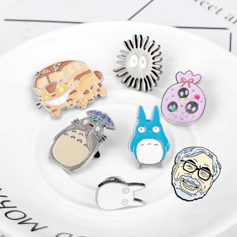 Japan Miyazaki Hayao Anime Cute Cartoon Brooch Totoro Enamel Pins & Brooches for Men Women Backpack Collar Lapel Badges Brooch-4(China)