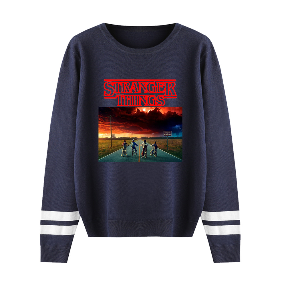 Stranger Things O-neck Sweater Men/women Discount Brand Clothes New Knitting Sweater Stranger Things O-neck Navy Casual Sweater