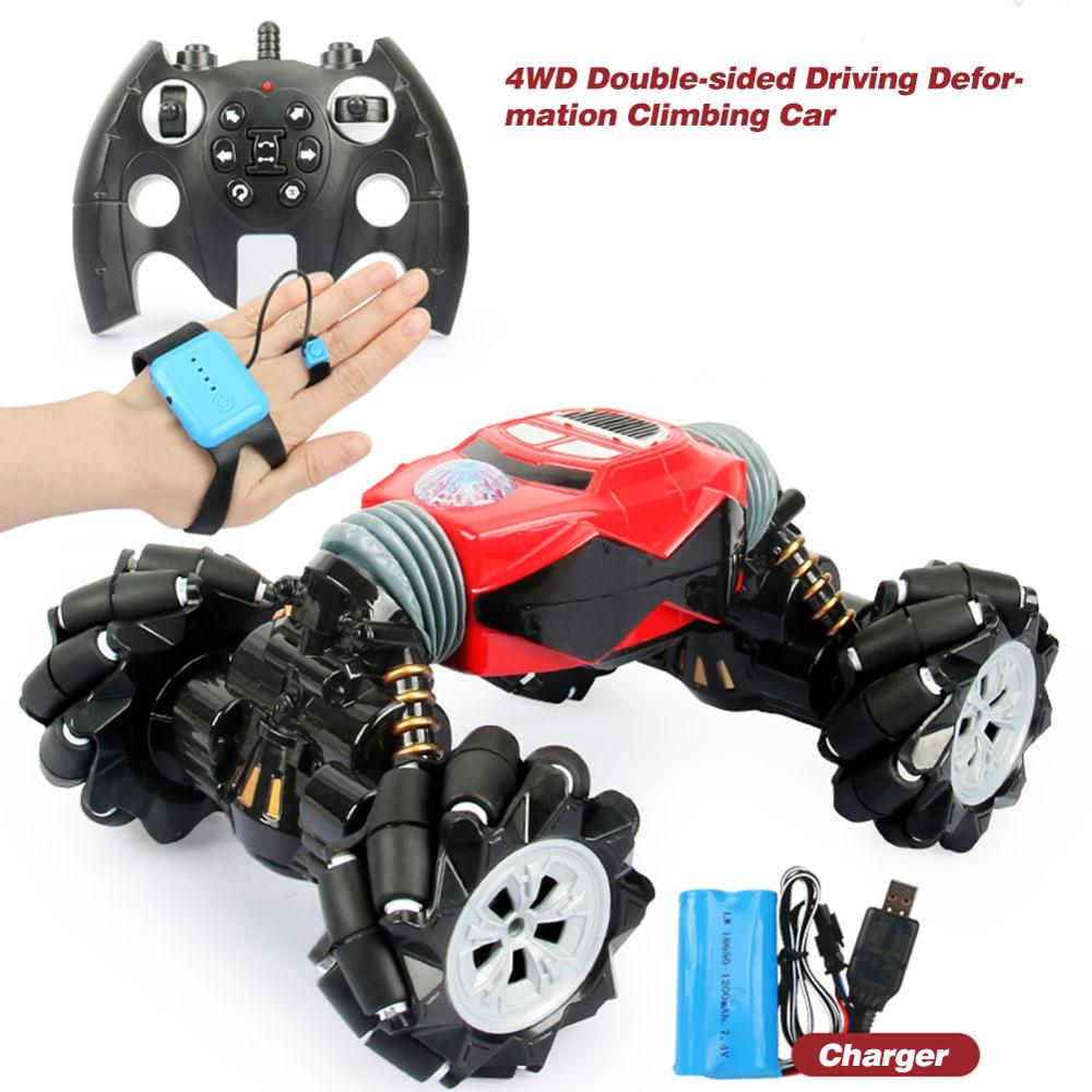 2.4GHz Remote Control Car One button Deformation Rechargeable Gesture Sensing Drift Twisting Car Off road Vehicle Toys For Kids|RC Cars| |  - title=