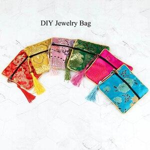 1 pçs 11.5*11.5cm tecido floral saco de seda brocado borla quarteto zíper saco de embalagem saco de jóias bolsa de moeda embalagem presente