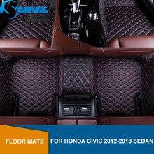 цена на Car floor mats For HONDA CIVIC 2012 2013 2014 2015 2016 2017 2018 sedan Custom auto foot Pads automobile carpet cover SUNZ