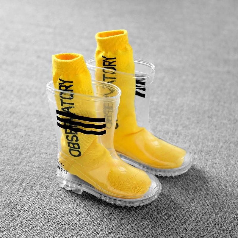 Rain Shoes Children 2020 New Fashion Transparent Shoes Waterproof Rain Shoes Soft Anti-Slippery PVC Rain Rubber Shoe 24-36