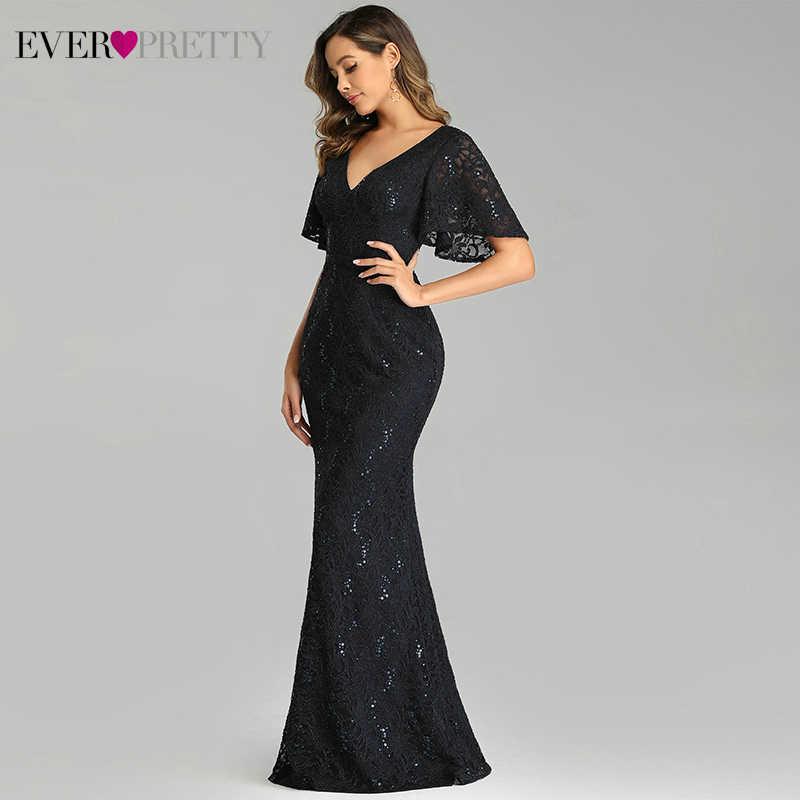 Сексуальные кружевные платья для выпускного вечера Ever Pretty EP00688NB, расшитые блестками, с коротким рукавом, с двойным v-образным вырезом, блестящие вечерние платья Русалка, Vestidos De Gala
