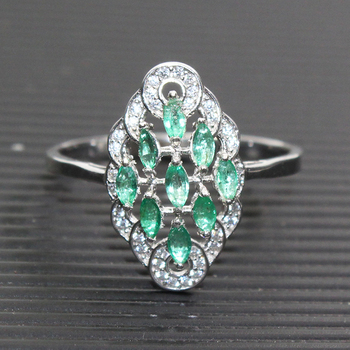 Luxurious Natural Emerald Ring 9 Pcs 4*2mm Natural Emerald Solid 925 Sterling Silver Emerald Ring Classic Emerald Silver Jewelry фото