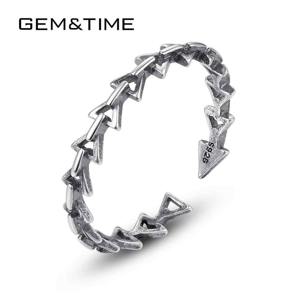 Gem & Time oryginalna 925 Sterling srebrna strzała trójkąt wieżowych pierścienie dla kobiet w stylu Vintage regulowane pierścienie Fine Jewelry