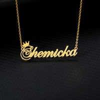 Typenschild Halskette Frauen Name Crown Halskette Personalisierte Edelstahl Gold Kette Angepasst Prinzessin BFF Schmuck
