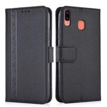 Funda de cuero en relieve 3d para Samsung Galaxy A20e A 20e 5,8 ''A202 A202F SM-A202F funda trasera cartera con bolsillo para tarjetas