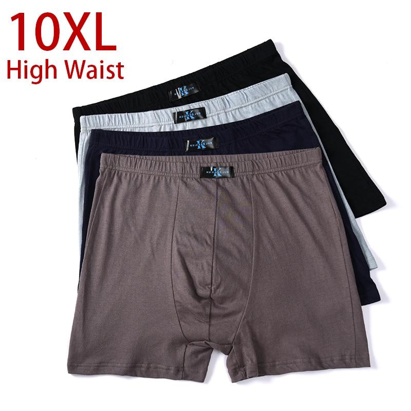 10XL-XL Plus  Men Underwear Male Boxer  Solid Panties Shorts Men's Cotton Underpants Breathable Intimate Man Boxers Large Size