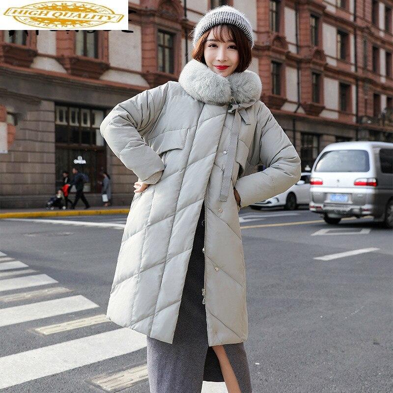 Winter Coat Women Korean White Duck Down Jacket Women Fox Fur Collar Down Coat Puffer Jacket Warm Parka Abrigos YY1422