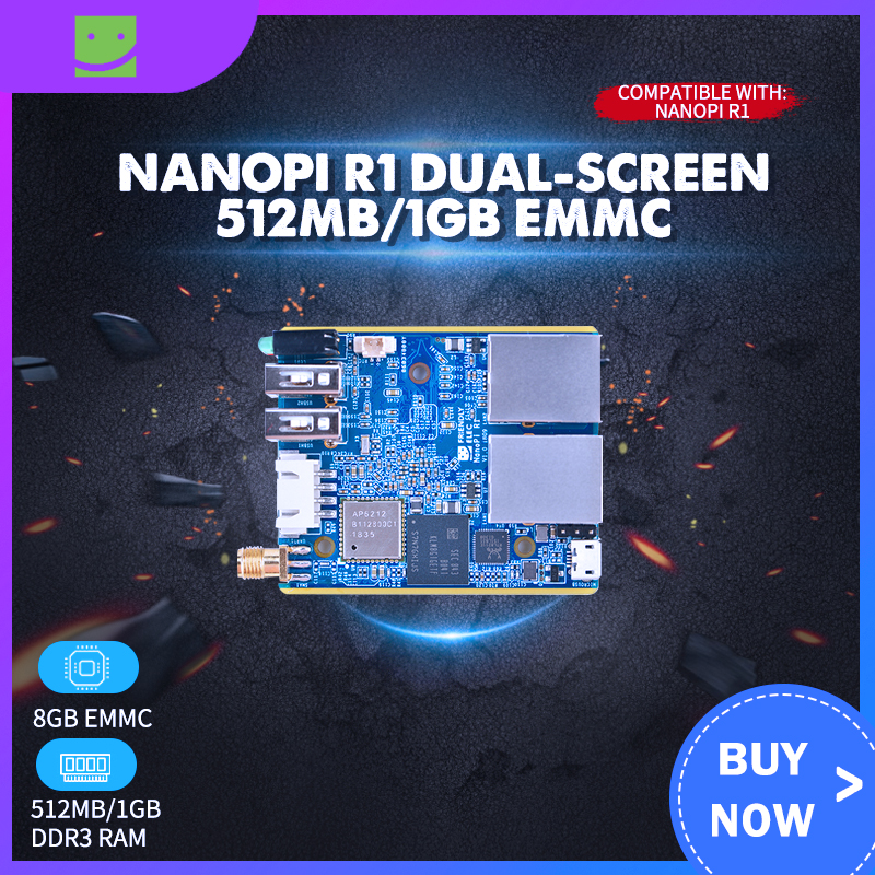 Nanopi R1 Dual-screen 512MB/1GB EMMC Internet Things IoT Router Support Open Source Ubuntu OpenWrt NanoPi R1